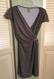 Ann Taylor Petites brown & cream faux wrap dress